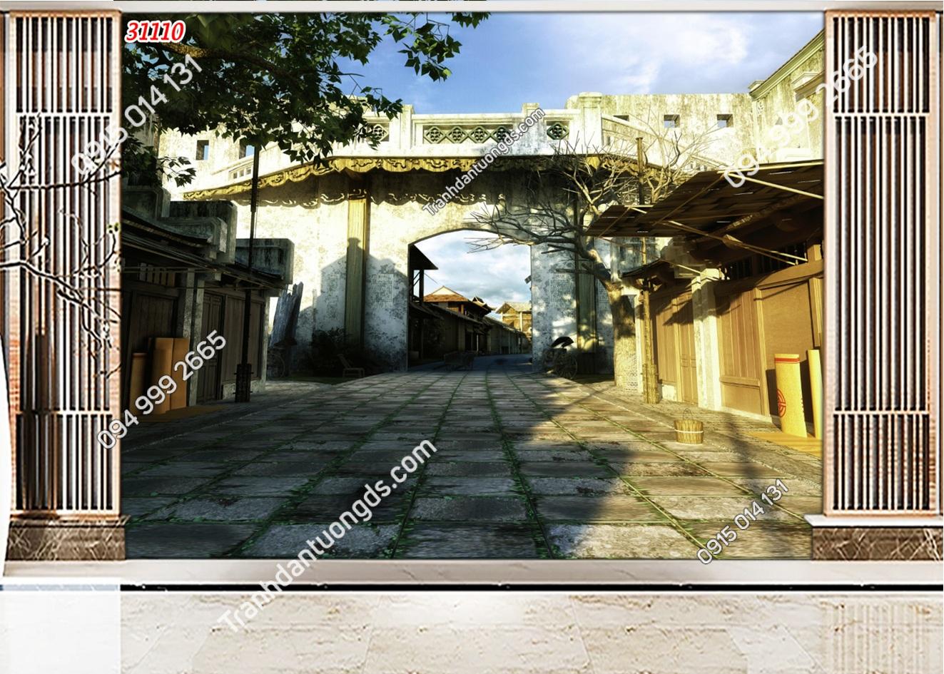 Tranh dán tường phố cổ Hà Nội xưa 31110