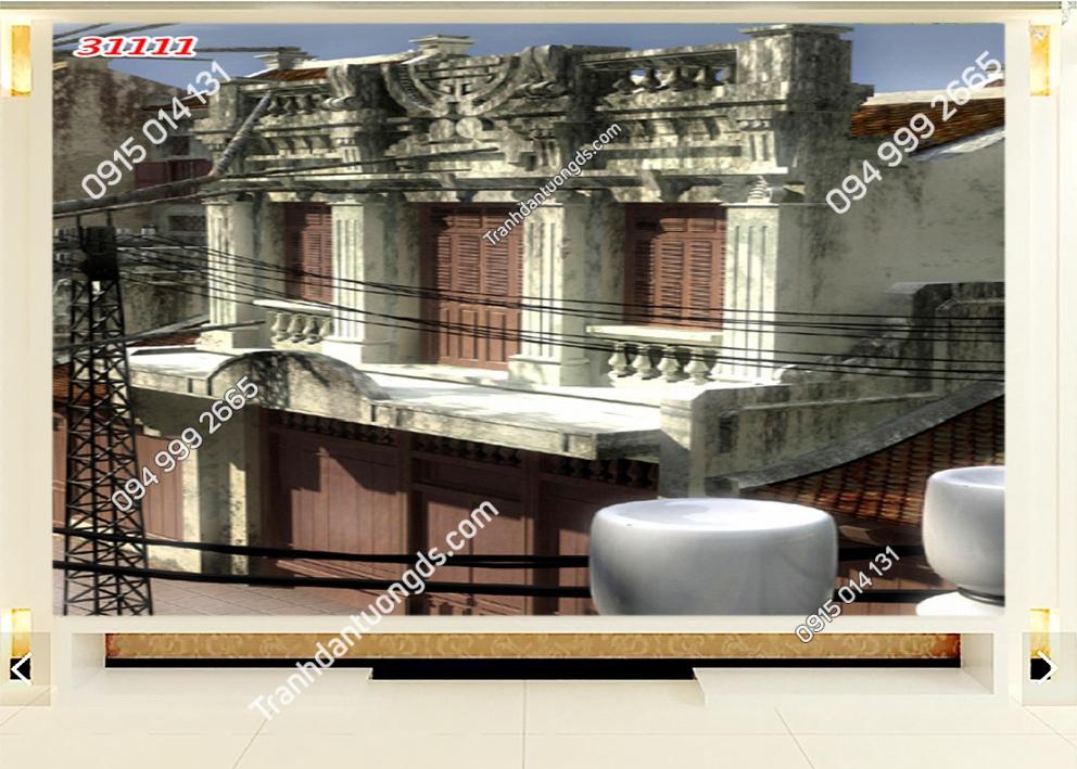 Tranh dán tường phố cổ Hà Nội xưa 31111