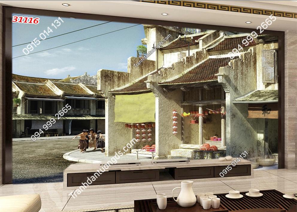 Tranh dán tường phố cổ Hà Nội xưa 31116