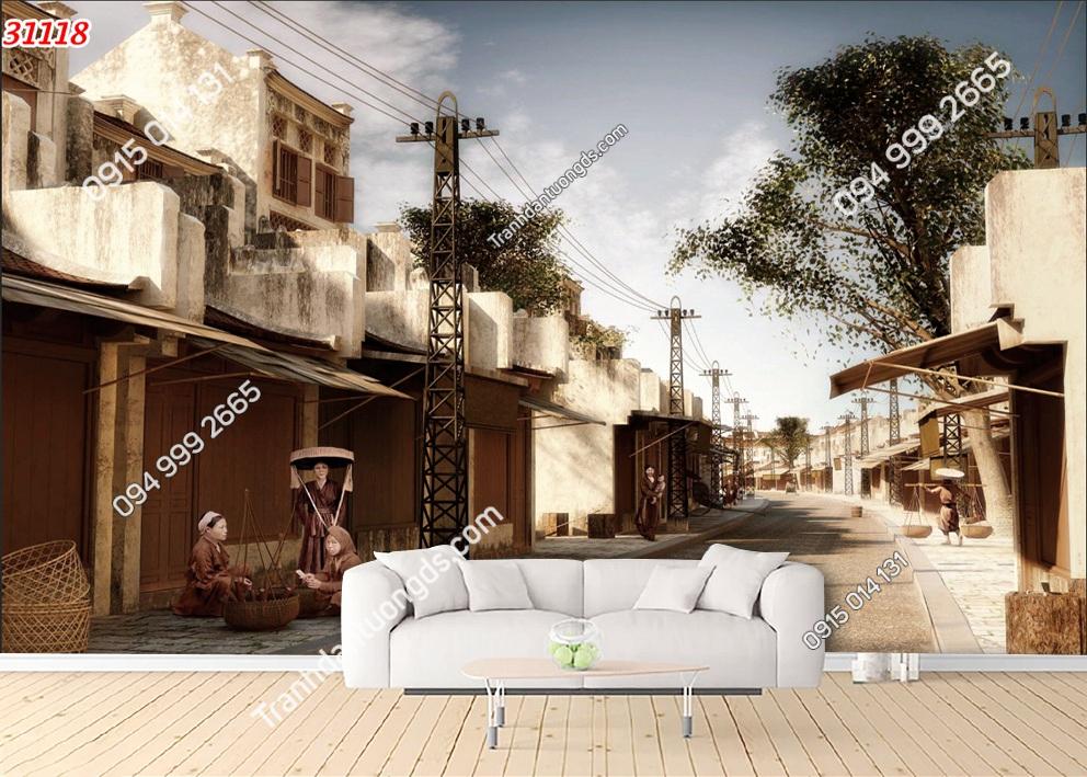 Tranh dán tường phố cổ Hà Nội xưa 31118