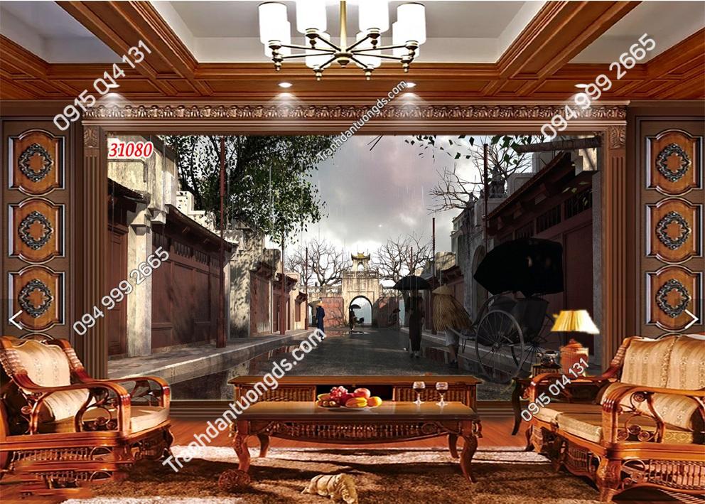 Tranh dán tường phố cổ Hà Nội xưa dán phòng khách 31080