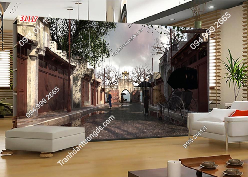 Tranh dán tường phố cổ Hà Nội xưa dán phòng khách 31117
