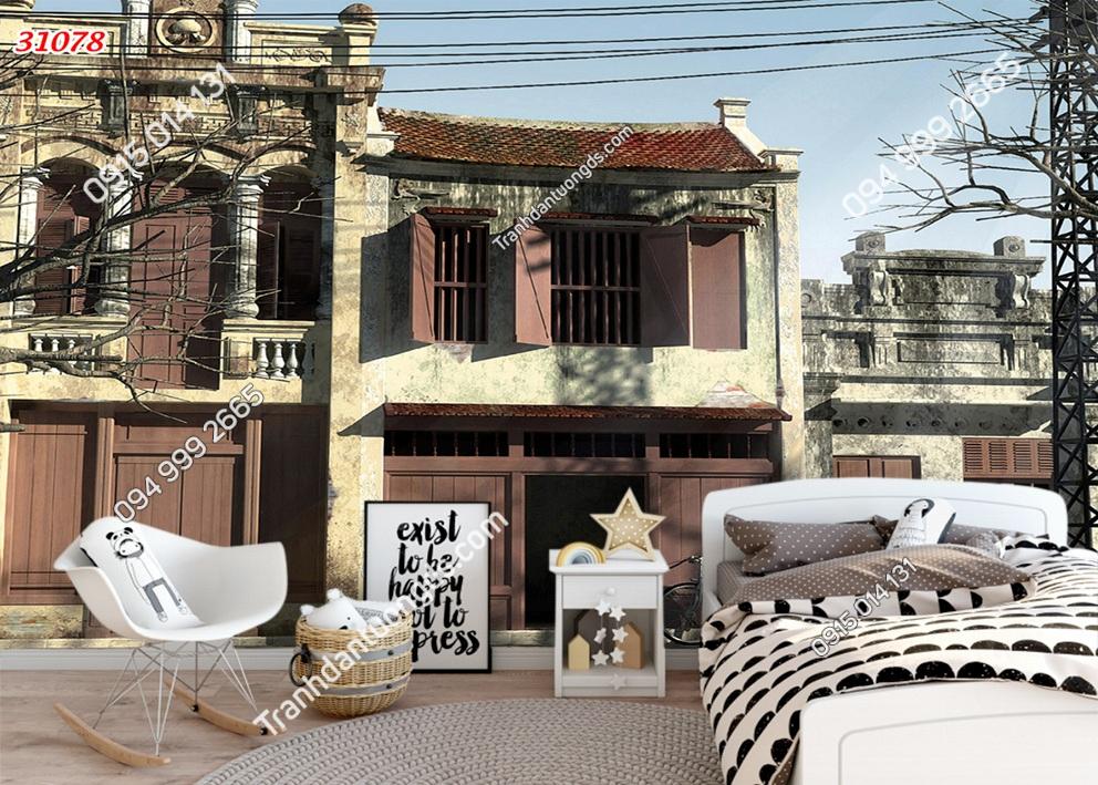 Tranh dán tường phố cổ Hà Nội xưa dán phòng ngủ 31078