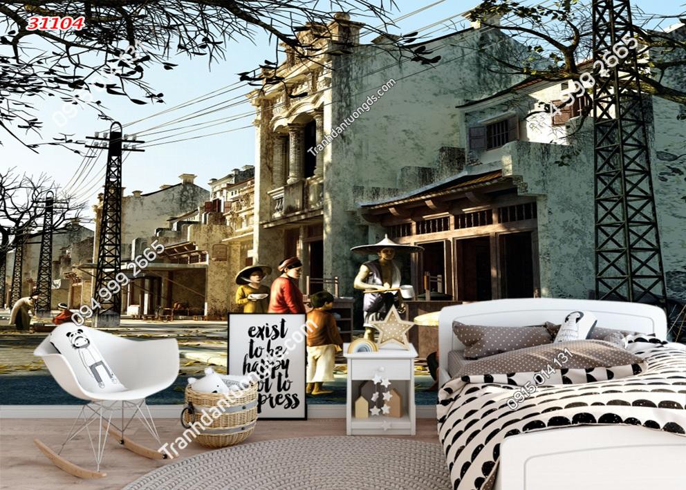 Tranh dán tường phố cổ Hà Nội xưa dán phòng ngủ 31104