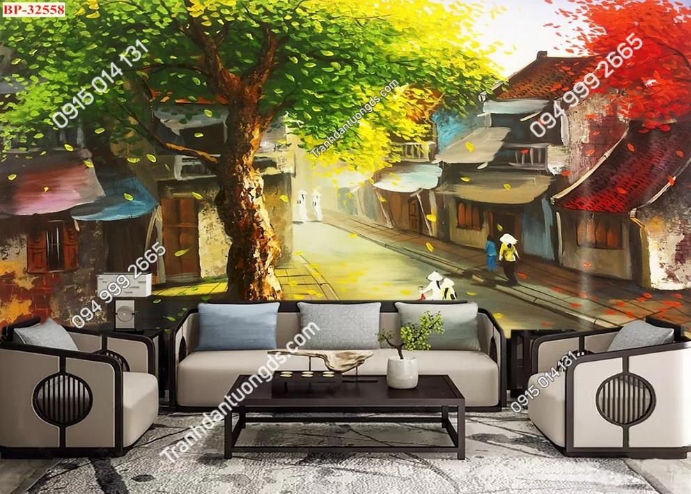 Tranh dán tường phố cổ Hà Nội xưa kiểu tranh vẽ 32558