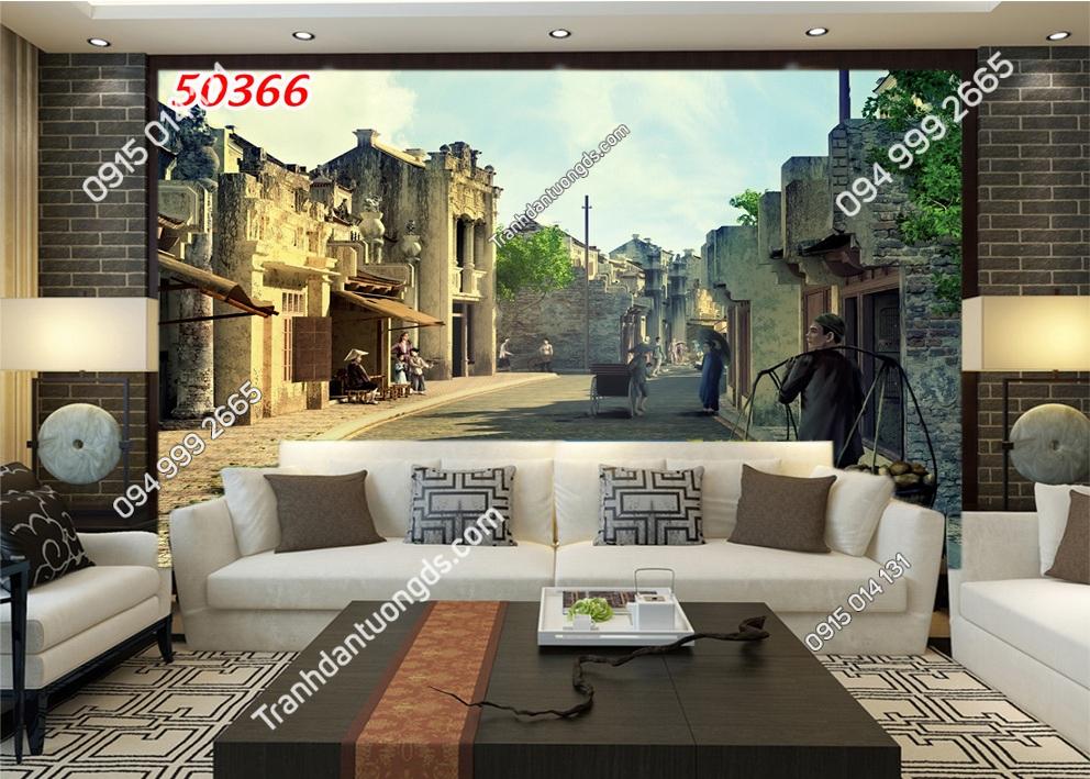 Tranh dán tường phố cổ Hà Nội xưa kiểu tranh vẽ 50366