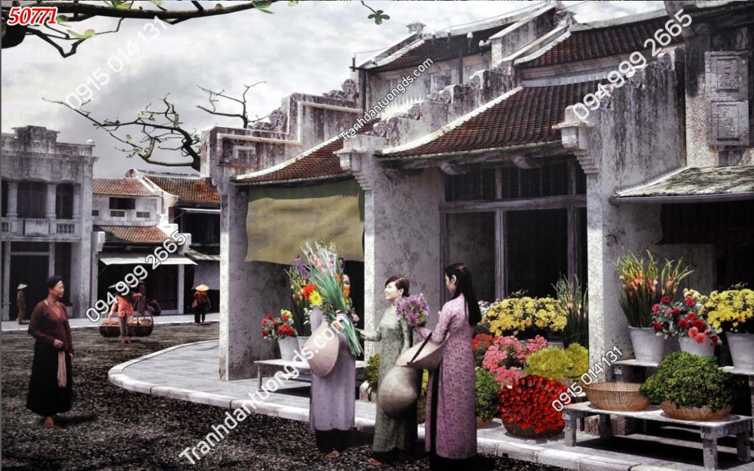 Tranh dán tường phố cổ Hà Nội xưa kiểu tranh vẽ 50771