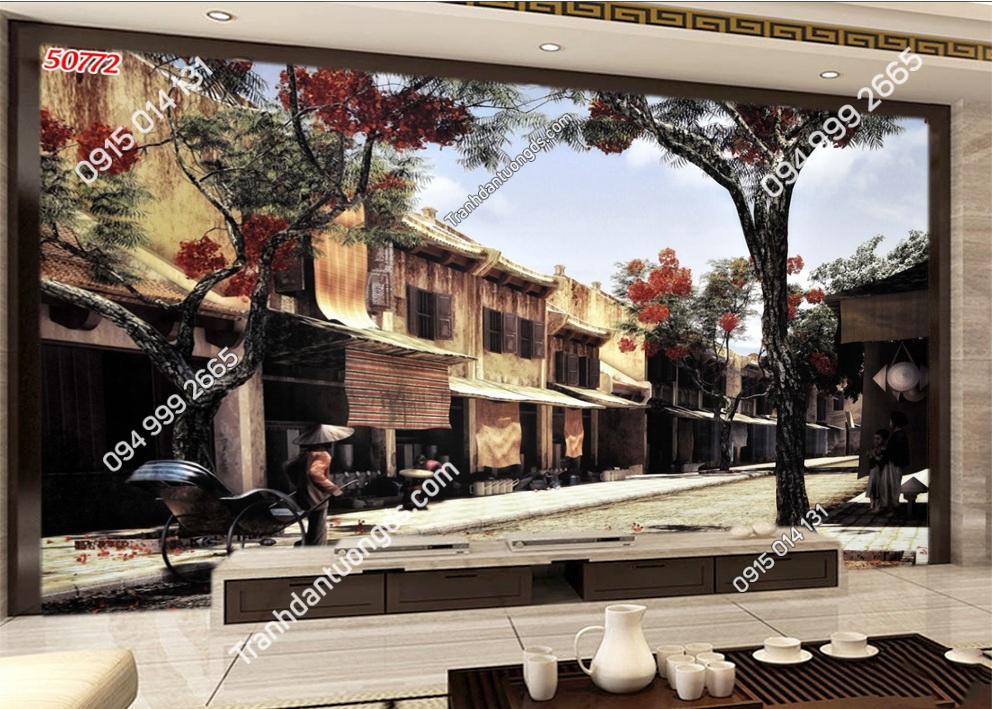 Tranh dán tường phố cổ Hà Nội xưa kiểu tranh vẽ 50772
