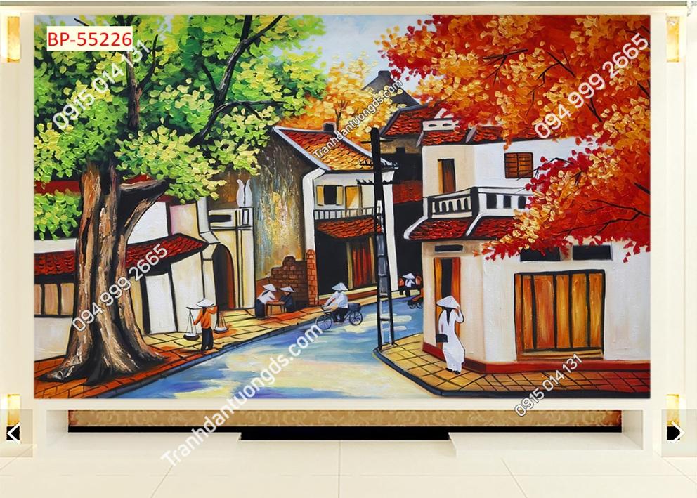Tranh dán tường phố cổ Hà Nội xưa kiểu tranh vẽ 55226