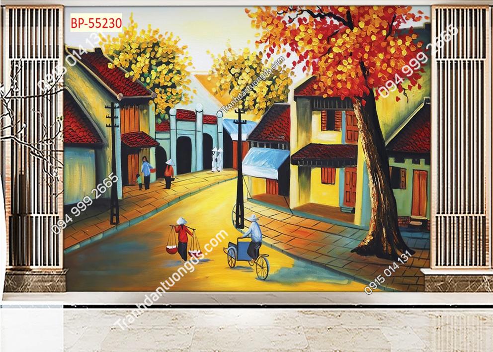 Tranh dán tường phố cổ Hà Nội xưa kiểu tranh vẽ 55230