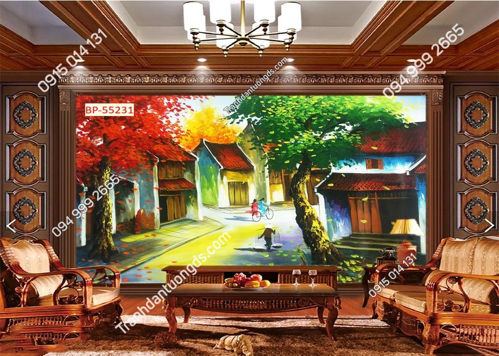Tranh dán tường phố cổ Hà Nội xưa kiểu tranh vẽ 55231