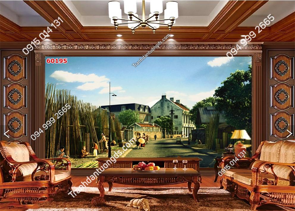 Tranh dán tường phố cổ Hà Nội xưa kiểu tranh vẽ 60195