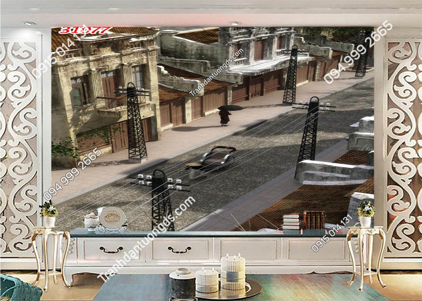 Tranh dán tường phố cổ Hà Nội xưa từ trên cao 31077