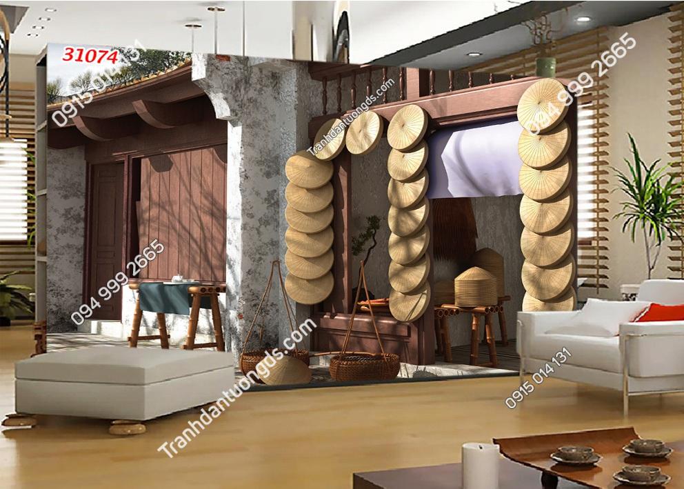 Tranh dán tường phố cổ bán nón Hà Nội xưa 31074