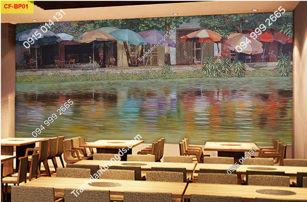 Tranh dán tường phố cổ dán quán cafe-BP01