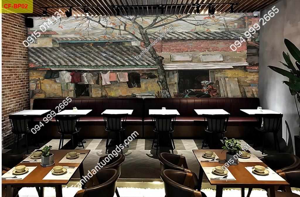 Tranh dán tường phố cổ dán quán cafe -BP02