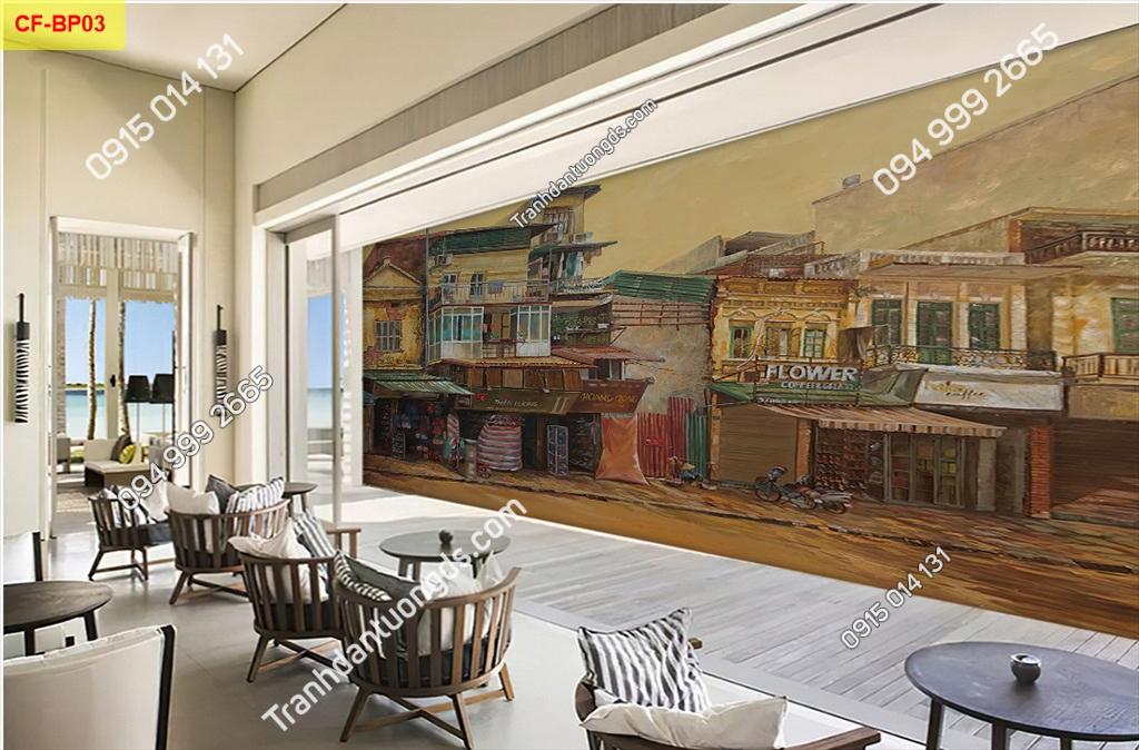 Tranh dán tường phố cổ dán quán cafe -BP03