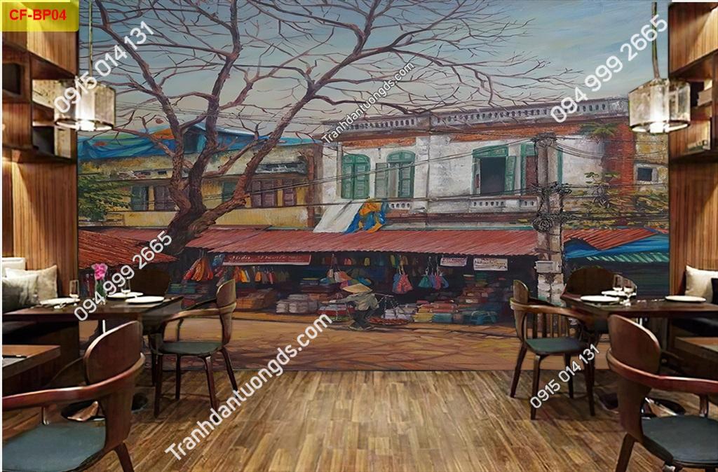 Tranh dán tường phố cổ dán quán cafe -BP04