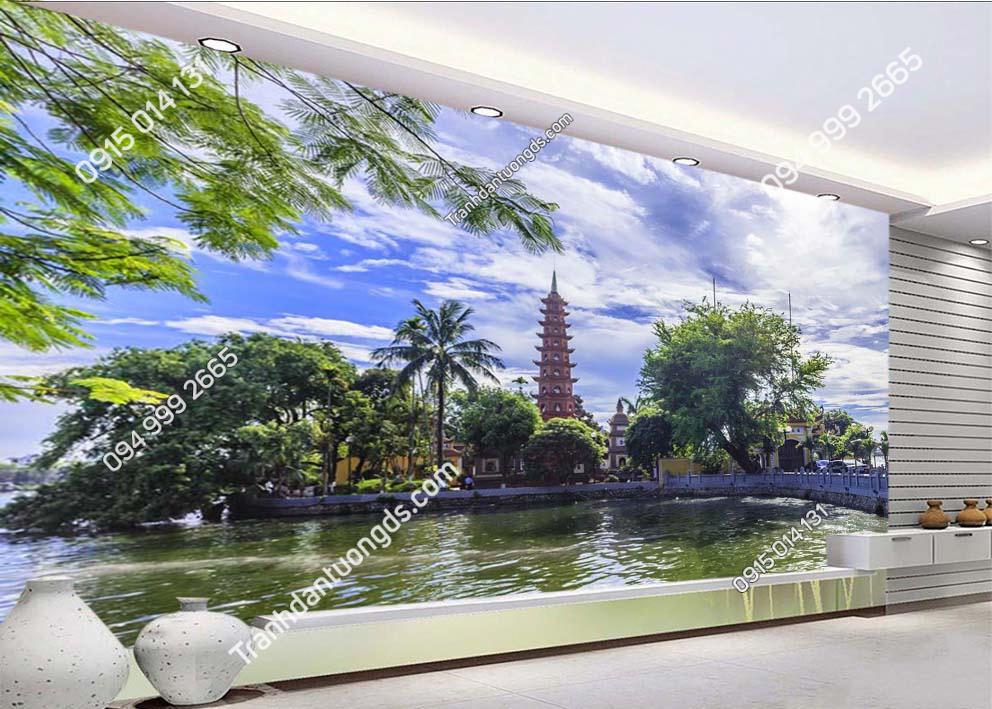Tranh dán tường phủ Tây Hồ Hà Nội dán phòng khách -HNX24