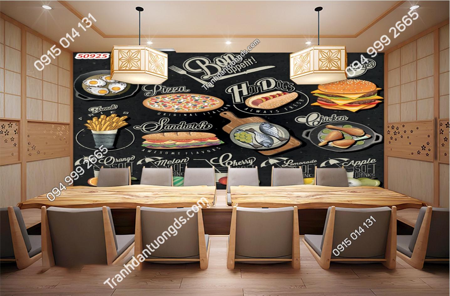 Tranh dán tường quán ăn nhanh 50925