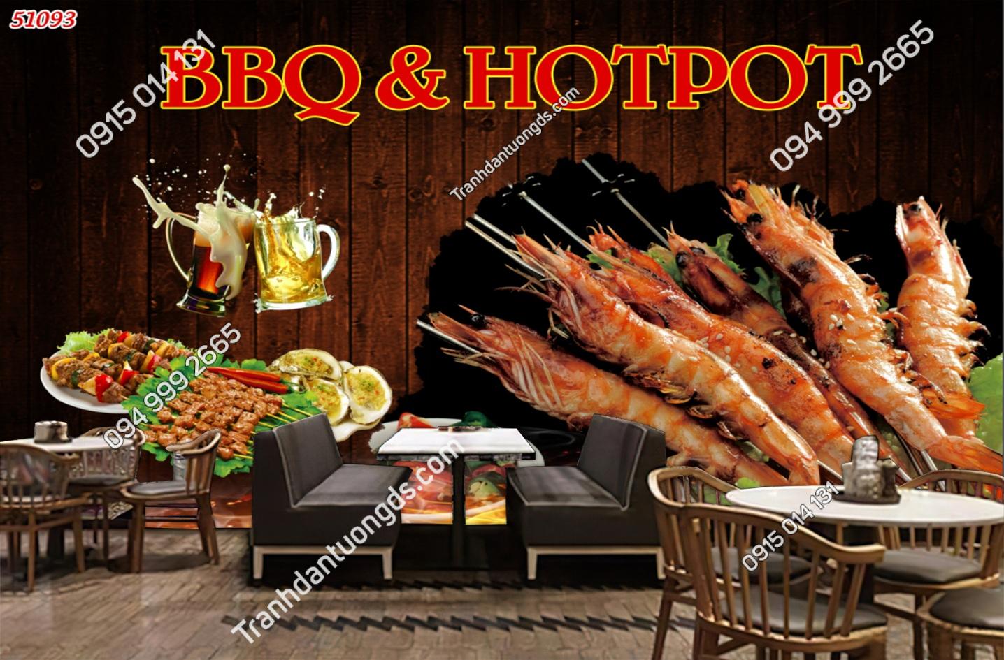 Tranh dán tường quán ăn nhanh BBQ HOTPOT 51093