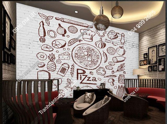 Tranh dán tường quán ăn vặt Pizza DS_15426402