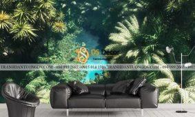 Top 40  mẫu Tranh dán tường lá cây nhiệt đới tropical forest 3D 5D 8D