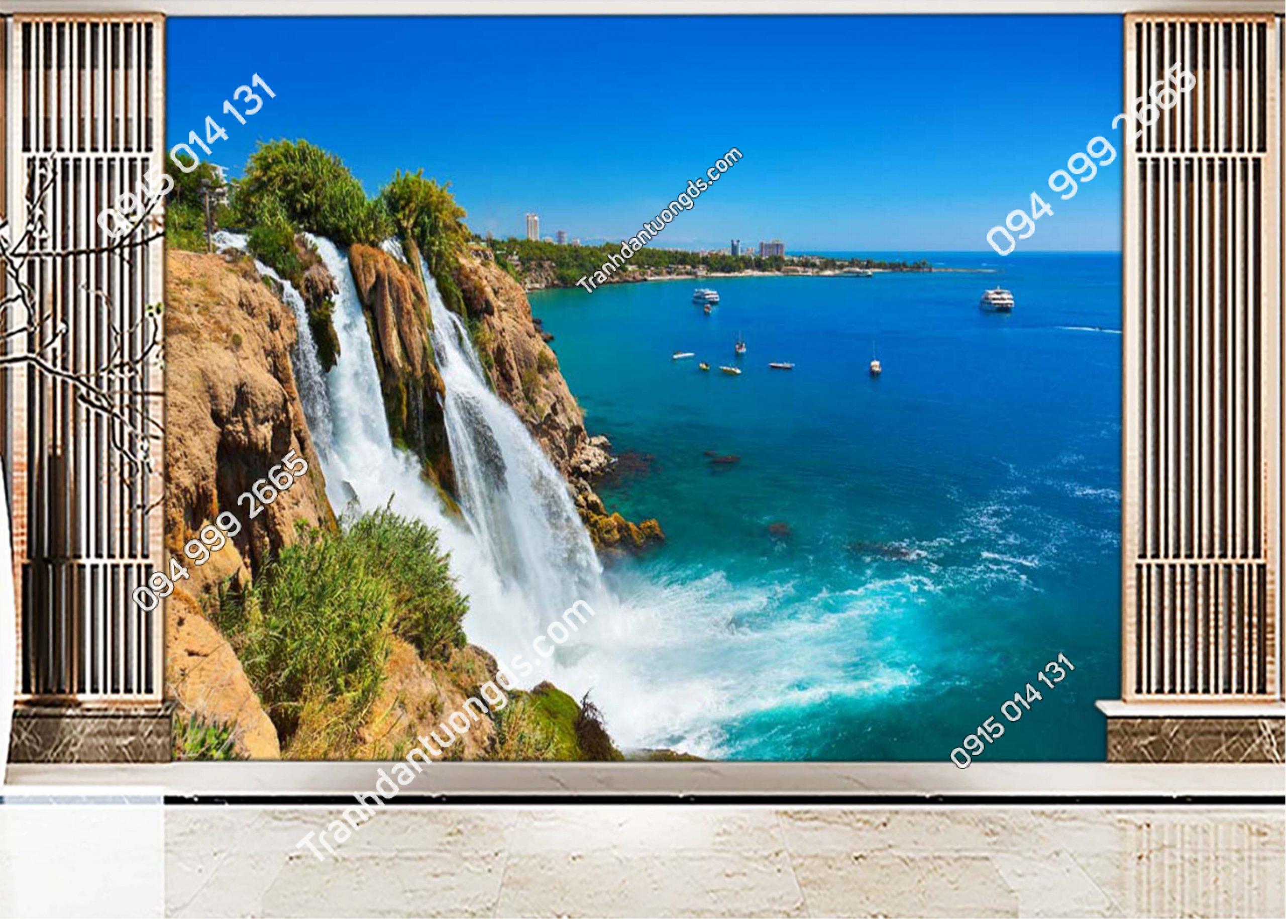 Tranh dán tường thác nước đổ ra biển ST022