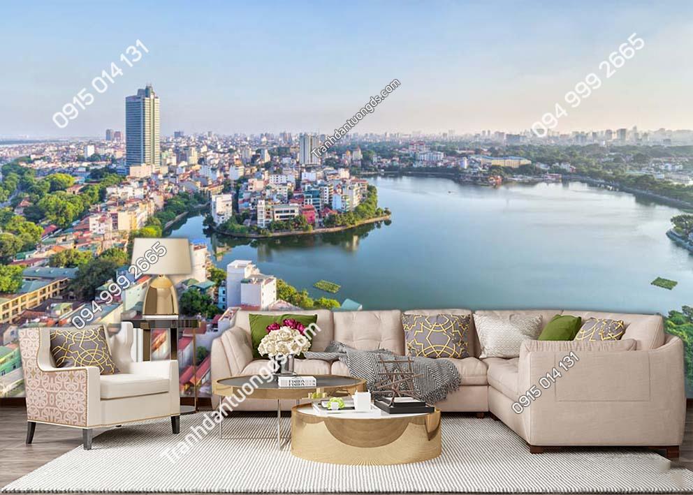 Tranh dán tường thành phố Hà Nội nhìn từ trên cao -HNX60