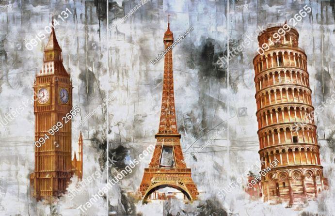 Tranh dán tường tháp Eiffel, Tháp nghiêng Pisa, Tháp đồng hồ Big Ben 1714471996