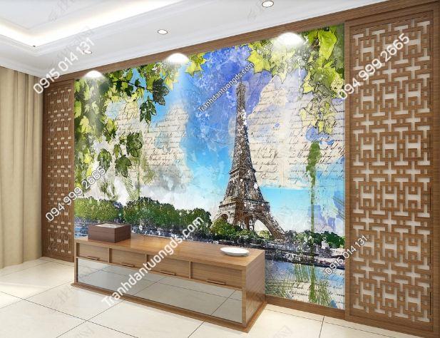 Tranh dán tường tháp Eiffel dán phòng khách DS_17415943