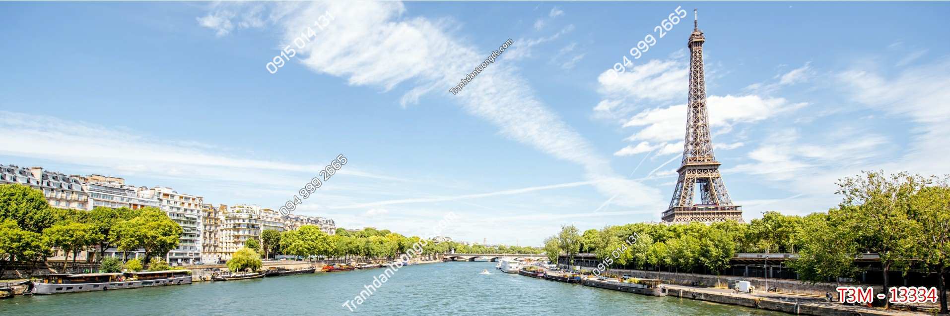 Tranh dán tường tháp Eiffel khổ dài - 13334 demo
