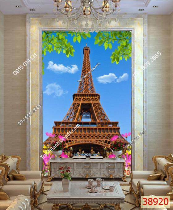 Tranh dán tường tháp Eiffel khổ dọc 38920 demo
