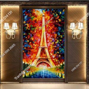 Tranh dán tường tháp Eiffel khổ dọc DS_12639554