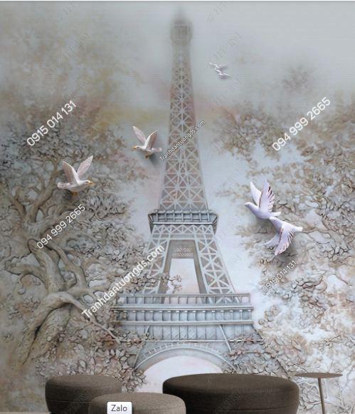 Tranh dán tường tháp Eiffel khổ dọc DS_17213622