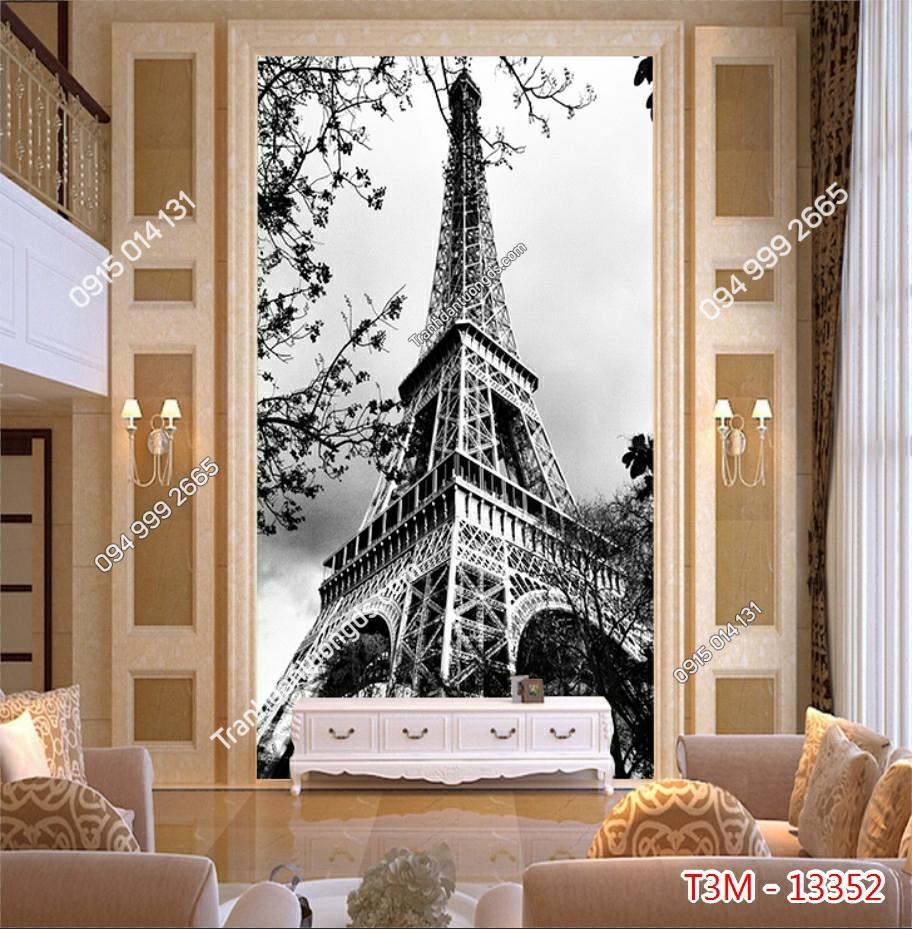 Tranh dán tường tháp Eiffel khổ dọc đen trắng - 13352 demo