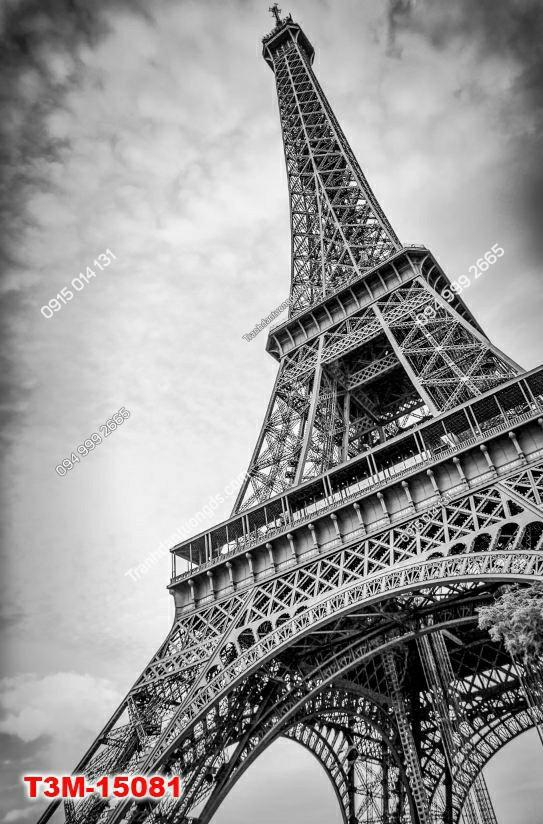 Tranh dán tường tháp Eiffel khổ dọc trắng đen -15081 DEMO