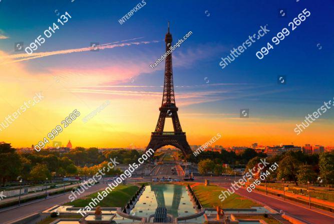 Tranh dán tường tháp Eiffel lúc bình minh ST_77676271