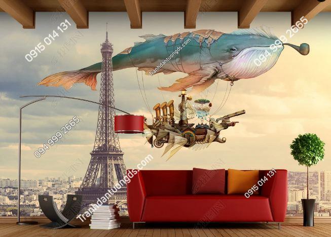 Tranh dán tường tháp Eiffel phong cách trẻ em DS_15864676