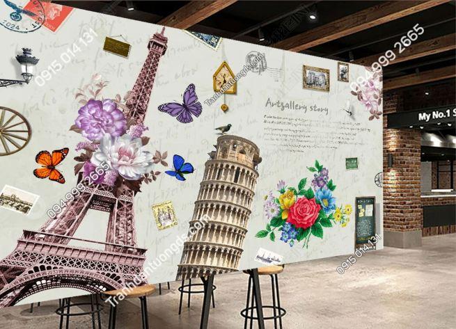 Tranh dán tường tháp Eiffel quán cafe DS_18706411