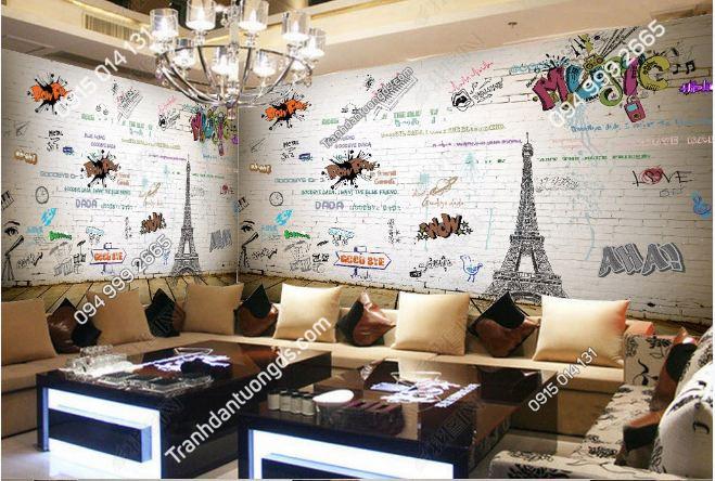 Tranh dán tường tháp Eiffel quán cafe nhạc DS_15448922