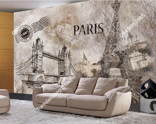 Tranh dán tường tháp Eiffel retro DS_14073523