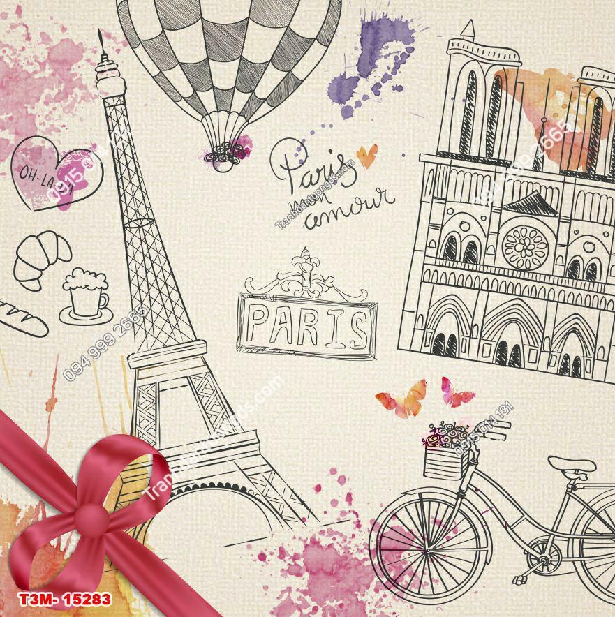 Tranh dán tường tháp Eiffel thiệp - 15283