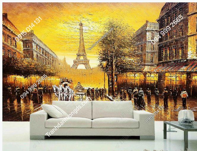 Tranh dán tường tháp Eiffel tôn vàng DS_16228009