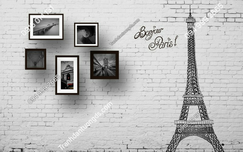 Tranh dán tường tháp Eiffel trắng đen - (1203)