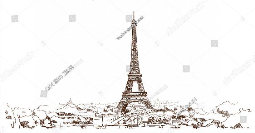 Tranh dán tường tháp Eiffel trắng đen ST_660941089
