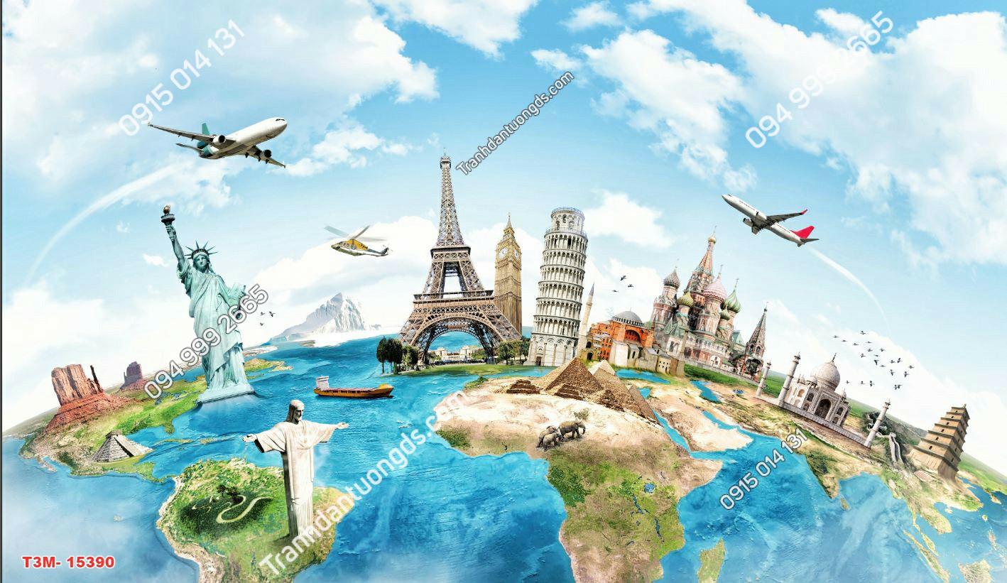 Tranh dán tường tháp Eiffel và các kỳ quan 15390