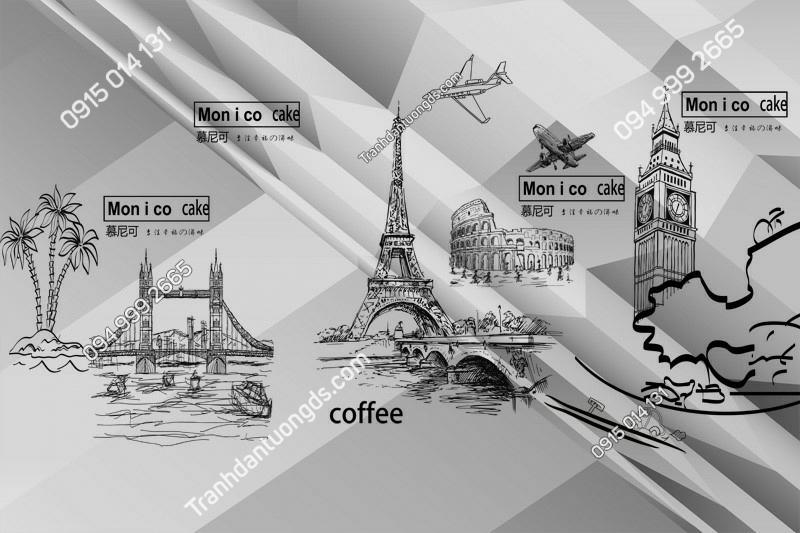 Tranh dán tường tháp Eiffel và các kỳ quan trắng đen - (1199)