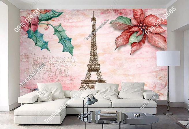 Tranh dán tường tháp Eiffel và hoa DS_15690846