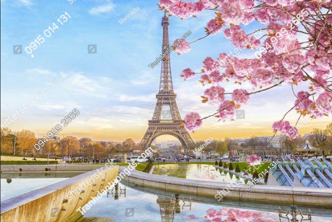 Tranh dán tường tháp Eiffel và hoa đào ST_740137441